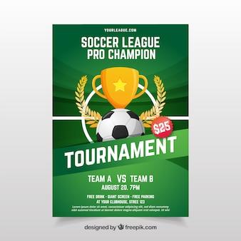 Piłka nożna liga ulotka z piłką i trofeum