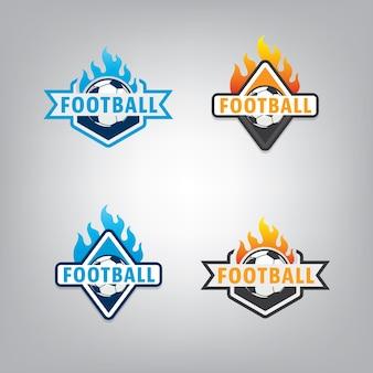 Piłka nożna logo projekt zestaw, ilustracji wektorowych