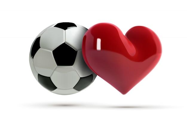 Piłka nożna lub piłka nożna i czerwone serce.