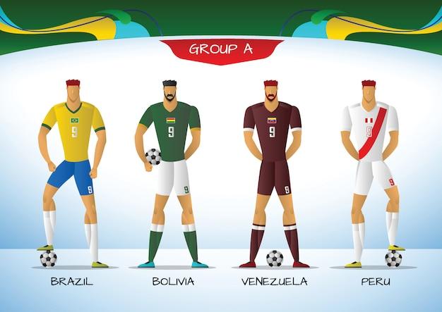 Piłka nożna lub piłka nożna mundur drużyny ameryki południowej