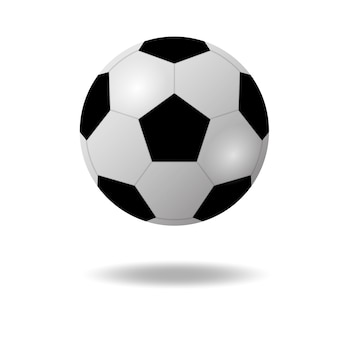 Piłka nożna lub piłka nożna pływające z cieniem na białym tle