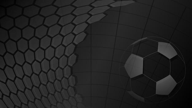 Piłka nożna lub piłka nożna tło z dużą piłką w czarnych kolorach