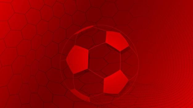 Piłka nożna lub piłka nożna tło z dużą piłką w czerwonych kolorach