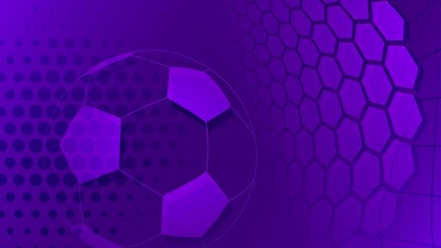 Piłka nożna lub piłka nożna tło z dużą piłką w fioletowych kolorach