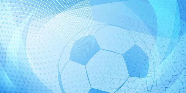 Piłka nożna lub piłka nożna tło z dużą piłką w jasnoniebieskich kolorach