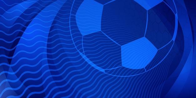 Piłka nożna lub piłka nożna tło z dużą piłką w niebieskich kolorach