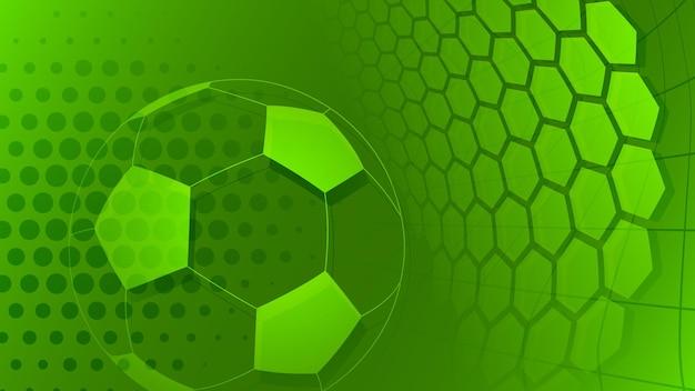 Piłka nożna lub piłka nożna tło z dużą piłką w zielonych kolorach