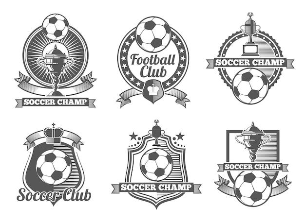 Piłka nożna lub piłka nożna vintage wektor etykiety, logo, herby. sport piłkarski, etykieta piłki nożnej, odznaka piłki nożnej, ilustracja godło piłki nożnej