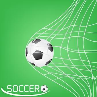 Piłka nożna lub piłka nożna w siatce bramkowej