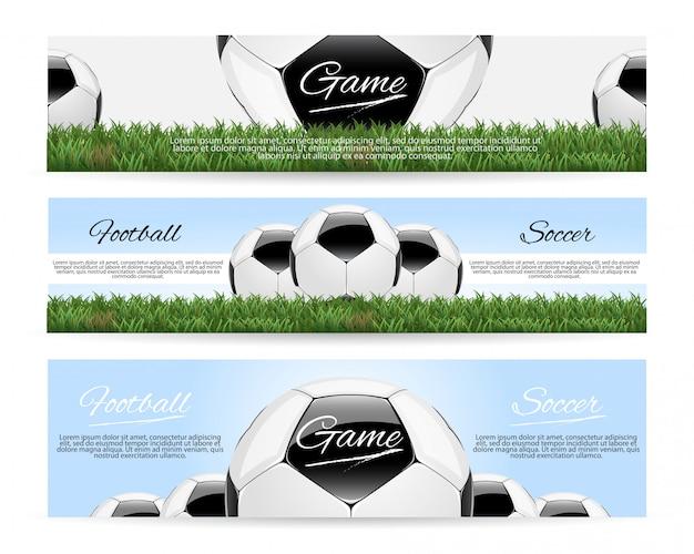 Piłka nożna lub piłka nożna z piłką 3d i banner wyników