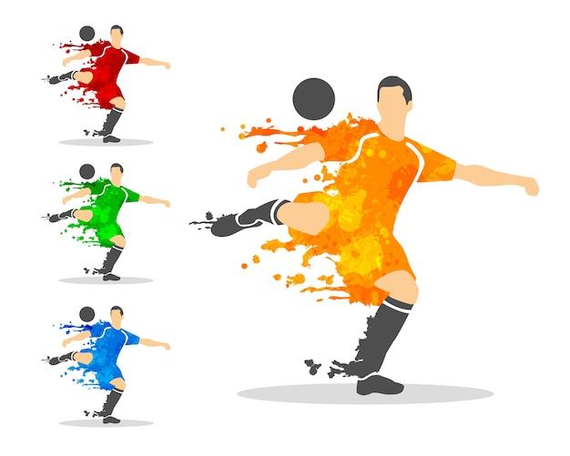 Piłka nożna lub piłkarz w akcji z ikona plusk i akwarela