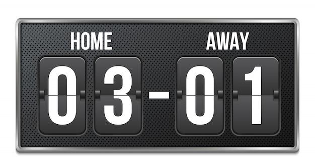 Piłka nożna, mechaniczna tablica wyników piłki nożnej, odliczanie.