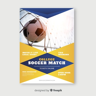 Piłka nożna mecz sport szablon ulotki