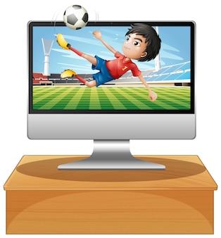Piłka nożna na ekranie komputera stacjonarnego