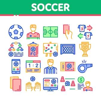 Piłka nożna piłka nożna gra kolekcja zestaw ikon