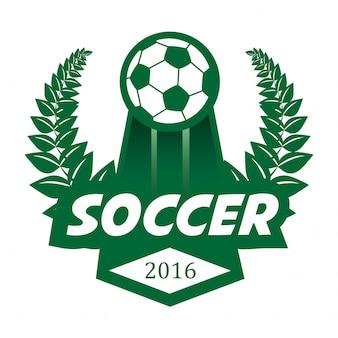 Piłka nożna piłka nożna odznaka logo szablon projektu.