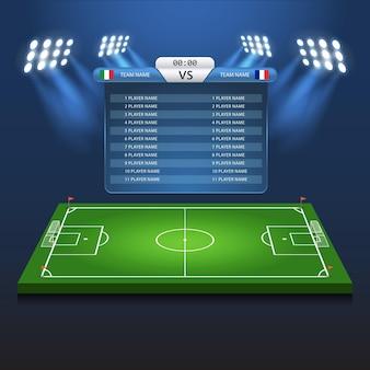 Piłka nożna piłka nożna tablica wyników tło boisko stadion szablon 3d