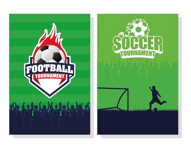 Piłka nożna plakat sportowy z balonem i graczem