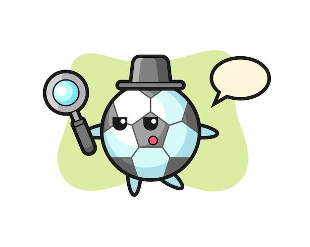 Piłka nożna postać z kreskówek wyszukująca za pomocą szkła powiększającego, ładny styl na koszulkę, naklejkę, element logo