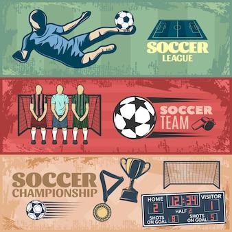 Piłka nożna poziome bannery z zespołem podczas karnych trofeów sprzętu sportowego