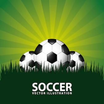 Piłka nożna projekt nad zieloną tło wektoru ilustracją