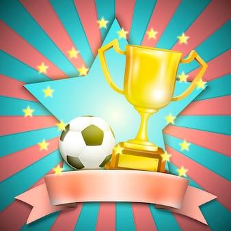 Piłka nożna retro plakat z trofeum piłką i filiżanką