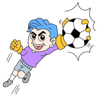 Piłka nożna sport bramkarza łapanie piłki jedną ręką, obraz ikony bazgroły. rysunkowy charakter ładny rysowanie gryzmoły