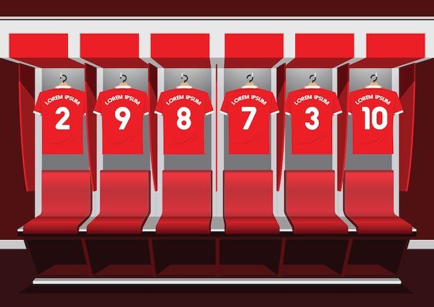 Piłka nożna szatni zespołu piłki nożnej czerwony sport