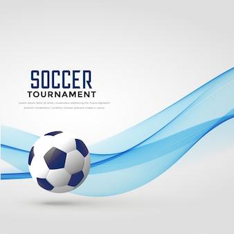 Piłka nożna turniej tło z niebieską falą