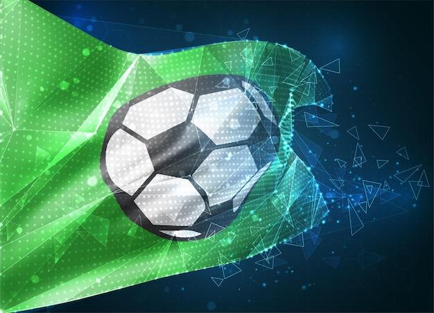 Piłka nożna, wektor flaga 3d na niebieskim tle z interfejsami hud