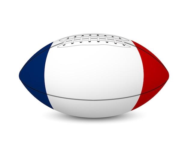 Piłka nożna z flagą francji, na białym tle.