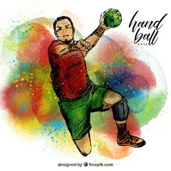 Piłka ręczna gracza w szkicowy styl