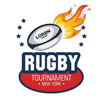 Piłka rugby płomienie gwiazd