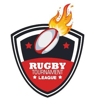 Piłka rugby z godłem turnieju płomieni