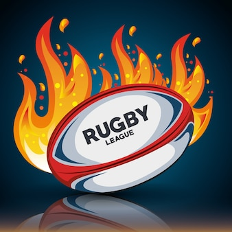 Piłka rugby z płomieni i cienia