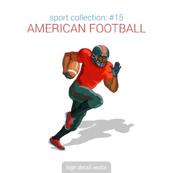 Piłkarz amerykański czarny piłkarz sprint. ilustracja szczegół wysokiej sportowca.