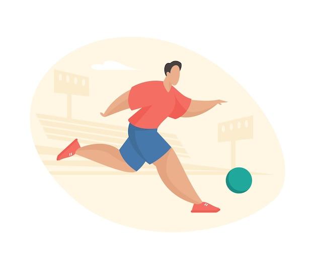 Piłkarz biega z piłką na stadionie. sportowiec aktywnie pędzi do bramki przeciwnika. chęć wystrzelenia rzutu wolnego kluczowy moment w grze