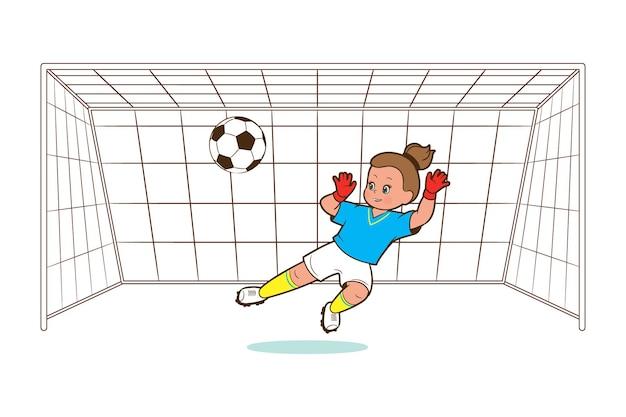 Piłkarz dziewczyna, bramkarz, łapie piłkę w bramkę do piłki nożnej. ilustracja wektorowa w stylu kreskówki, komiks mieszkanie
