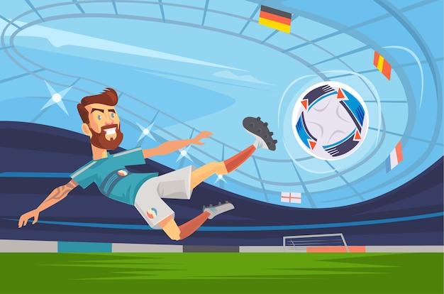 Piłkarz grający na pozycji napastnika. ilustracja kreskówka płaski wektor