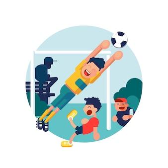 Piłkarz z dziećmi w akcji w nowoczesnym stylu ilustracji płaski. bramka do piłki nożnej, piłka nożna.