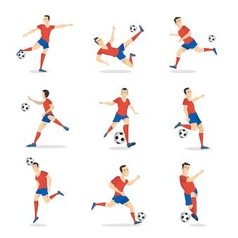 Piłkarz z piłką na białym tle.