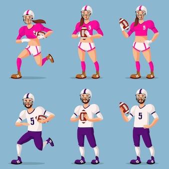 Piłkarze futbolu amerykańskiego w różnych pozach. osoby płci męskiej i żeńskiej w stylu cartoon.