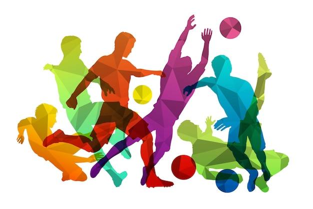 Piłkarze z piłką. sylwetki sportowej drużyny piłkarskiej ozdobione trójkątnym mozaikowym wzorem. piłkarze i bramkarz pozowanie z piłką. ilustracja wektorowa na białym tle