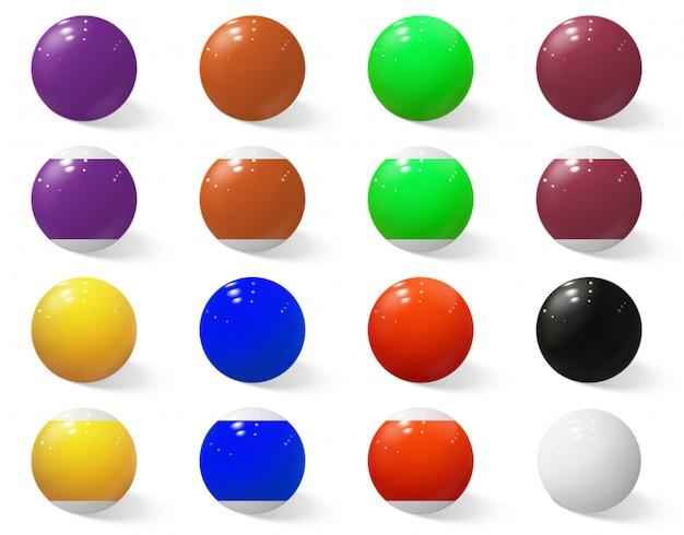 Piłki bilardowe, bilardowe lub bilardowe bez liczb.