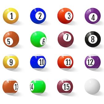 Piłki bilardowe, bilardowe lub bilardowe z numerami.