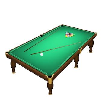 Piłki do gry w bilard rozpoczynają pozycję na realistycznym stole bilardowym.