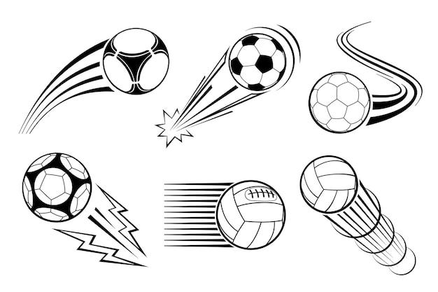 Piłki do piłki nożnej i piłki nożnej na etykiety i emblematy