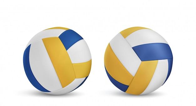 Piłki do siatkówki ustawione na białym tle
