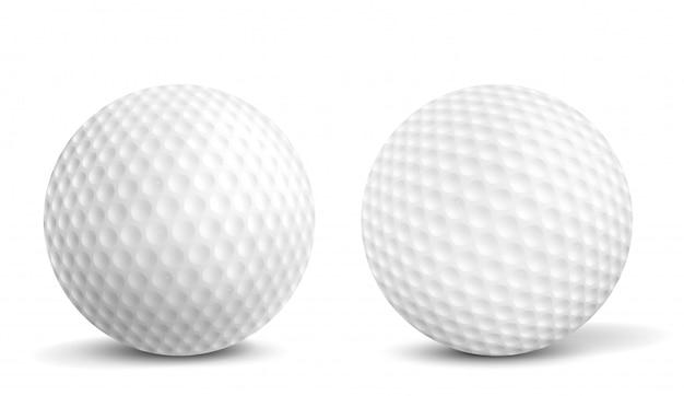 Piłki golfowe na białym tle realistyczne ilustracje wektorowe