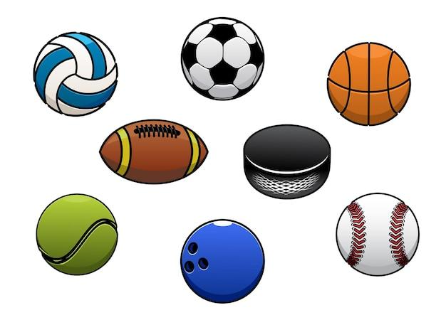 Piłki sportowe na białym tle ikony
